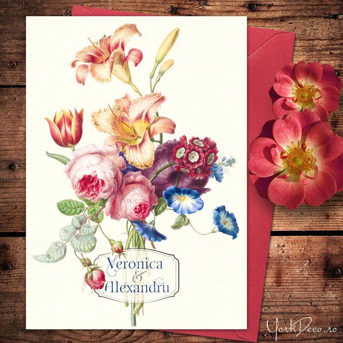 Invitațe florală superbă cu crini, lalea și trandafiri