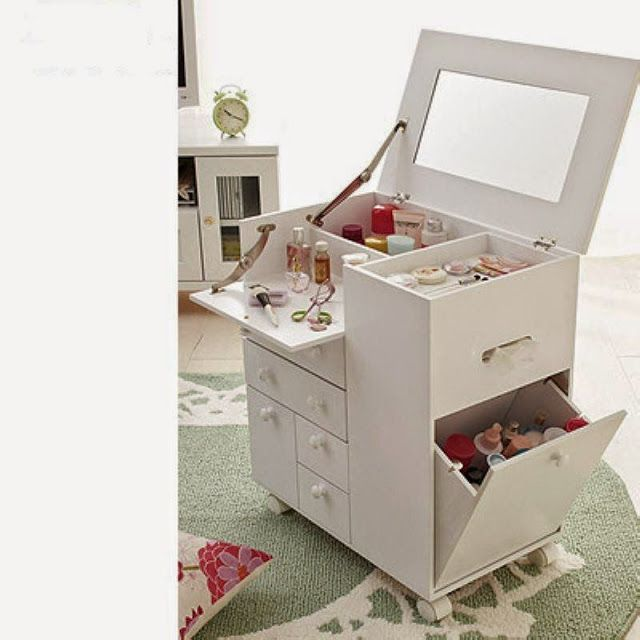 contemporary dressing table with folding mirror for small modern bedroom