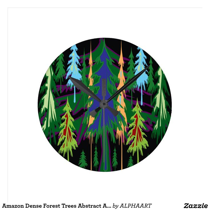 Amazon Dense Forest Trees Abstract Art on Gifts Round Clock