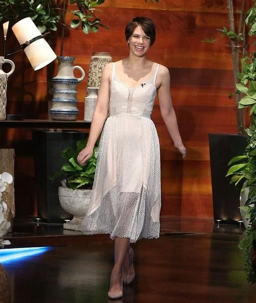 Actress Lauren Cohan wears the SS16 Valencia Dress during an appearance on The Ellen Show Today
