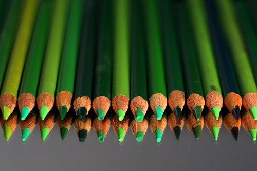 beautiful green pencils for colouring beautiful green things