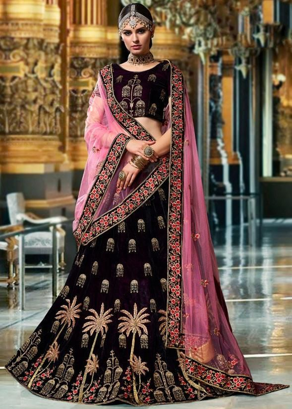 fad9f1d4ee Buy Wine Velvet Bridal Wedding Lehenga Choli SF0005 | Lehenga ...