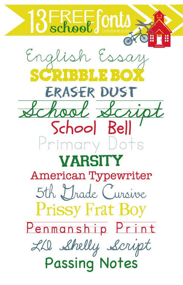 13 FREE back to school fonts. #backtoschool