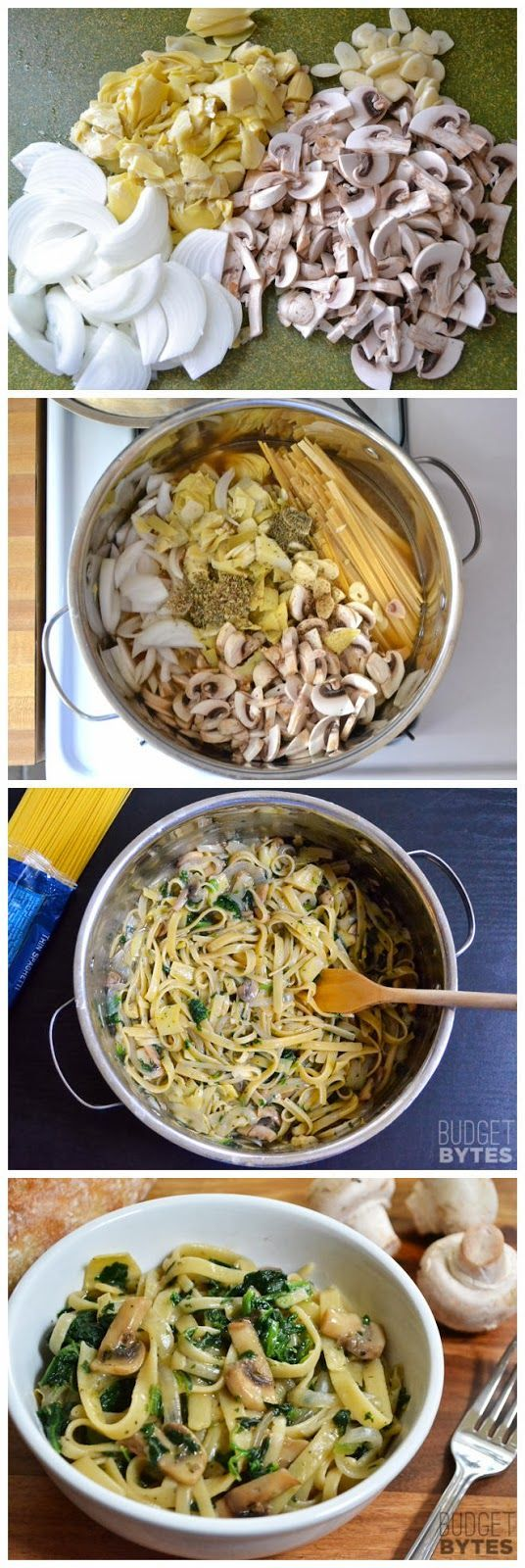 Spinach & Artichoke Wonderpot (another one pot wonder recipe)    Ingredients      8 oz. mushrooms  1 (14 oz.) can artichoke hearts  4 cloves garlic  1 medium yellow onion  5 cups vegetable broth  2 Tbsp olive oil  12 oz. fettuccine  1 tsp dried oregano  ½ tsp dried thyme  freshly cracked pepper (15-20 cranks)  4 oz. frozen cut spinach