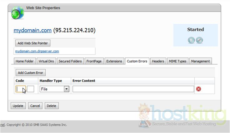 How to create custom error pages in WebsitePanel