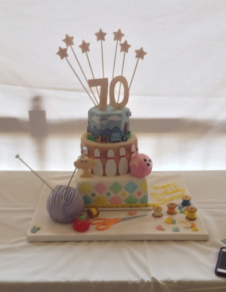 Moms 70th Birthday Cake Ideas Golf Grandma Knitting Sewing Bridge