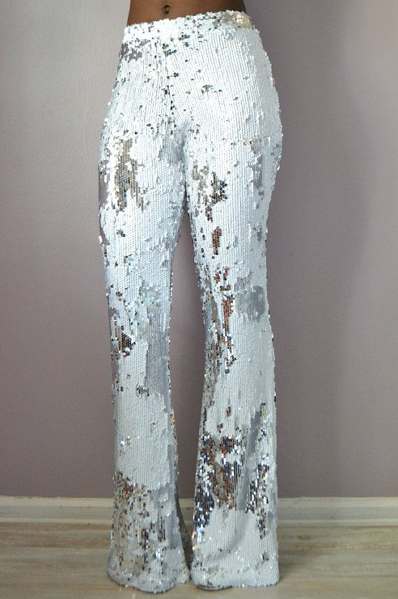 White Sequin Flare Pants by DanielaTabois on Etsy