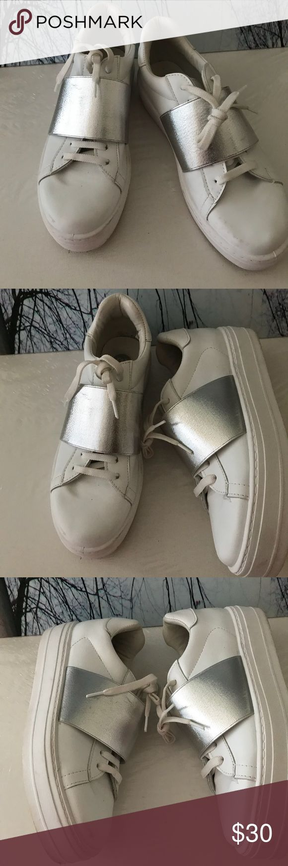 Men- White Sneakers with Silver Band River Island Men Sneakers- white With Silver Band In Gently Used Condition.  Made In Italy Size:5/38 River Island Shoes Sneakers