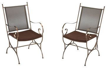 Home Styles Sundance Outdoor Dining Chair in Bronze - Set of 2 - transitional - outdoor chairs - Cymax