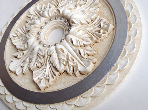 Ceiling medallion VENICE SILVER hand painted for by accentbydesign