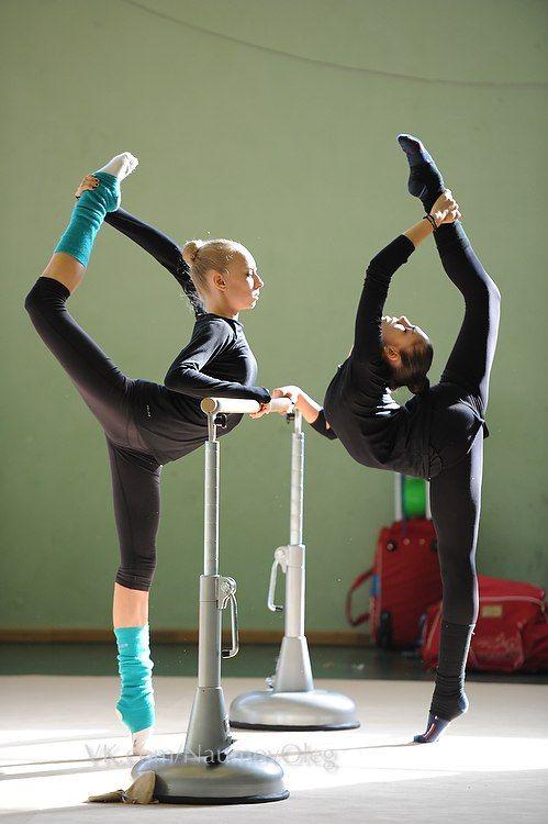 Rhythmic gymnasts training. Yana Kudryavtseva and Rita Mamun (Russia) before Grand Prix Moscow 2014