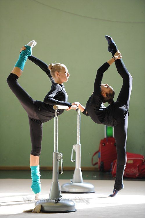 Rhythmic gymnasts training. Yana Kudryavtseva and Rita Mamun (Russia) before Grand Prix Moscow 2014