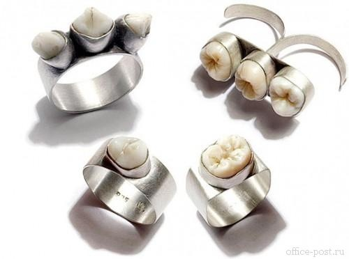 human teeth ring.  I actually really want to make some heirloom jewellery out of my own wisdom teeth (and my brother's and best friend's...mwahaha)