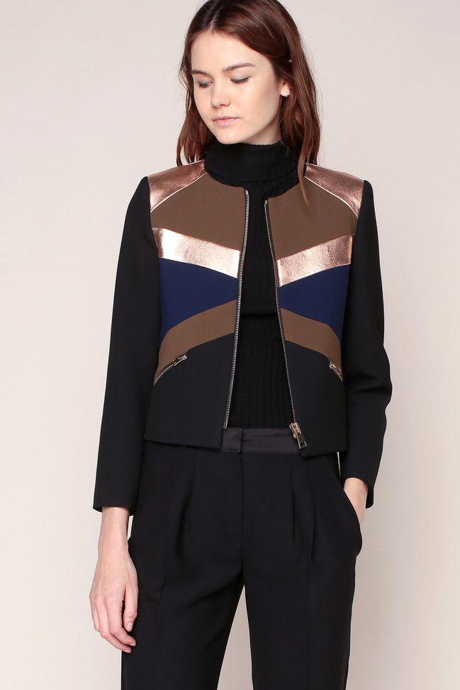 Veste noire empiècements kaki/bleu/rosé cuir - Tara Jarmon