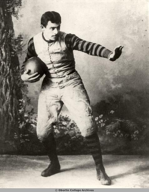 Former #Auburn Head Coach John Heisman doing the heisman pose at Oberlin College.