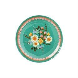 Rice - Melamine Dessert Plate with Jade Flower Print
