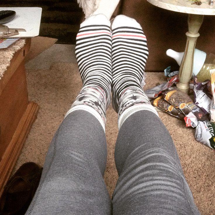 Jammies and socks for Christmas Eve loungewear.