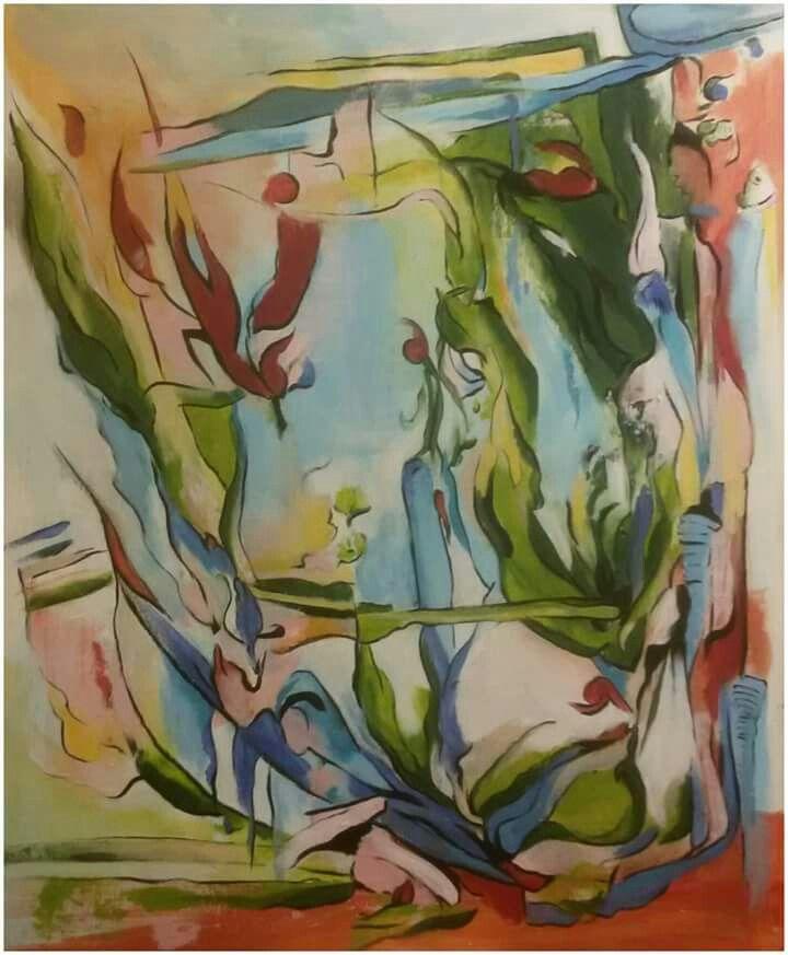 """""""Před oknem"""",akryl 47x57 cm."""