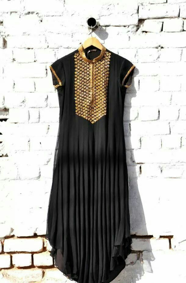 black and gold long #kurtha top