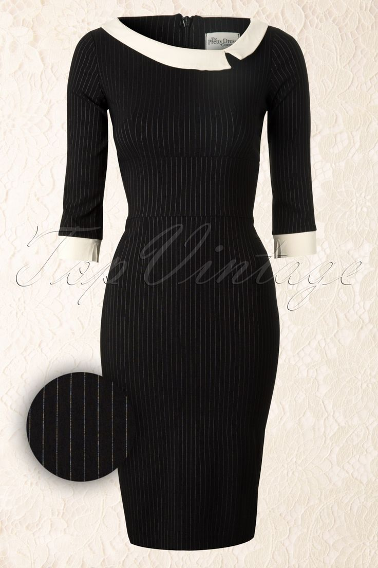 The Pretty Dress Company - Black Mistress Mad Men Vintage Pencil dress with Pinstripe
