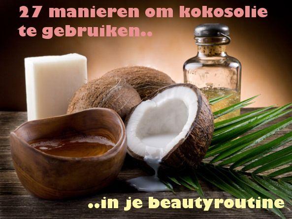 1. Tandpasta. kokosolie, zuiveringszout en pepermunt olie 10. Wattenstaafje: breng klein beetje kokosolie aan. 11. Lipscrub. Meng ko met suiker of honing. 16. Bodylotion. Voeg een geurtje toe. 18. Gebruik kokosolie op brandplekken. Het verminderd de kans op een litteken en bevorderd de genezing. 24. Deodorant. Je kan 1/3 kokosolie mengen met 1/3 bakingsoda en 1/3 maizena. purekokosolie.nl