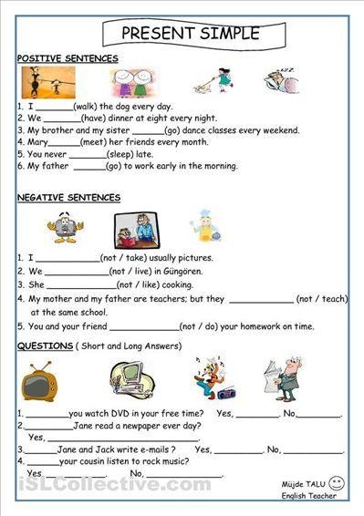 Esl Worksheets Simple Present Tense