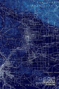 Pablo Franchi - Pasadena California Old Map 1894 Blue large wall art