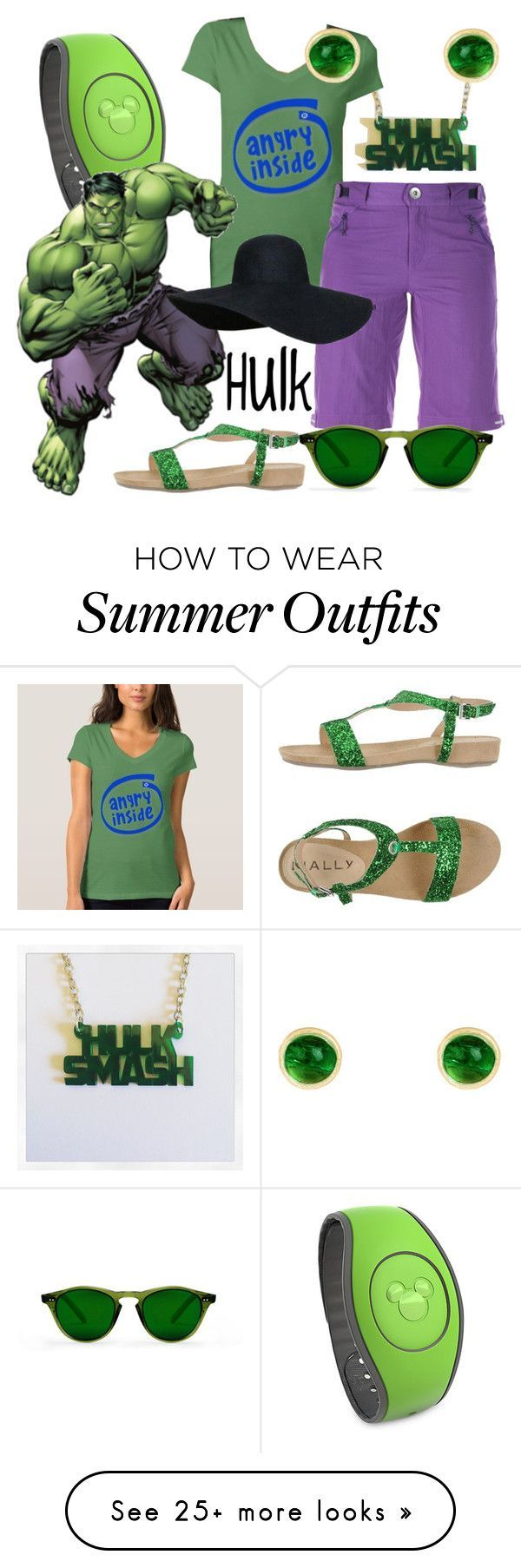 "Summer Outfits : ""Hulk  Park Ready (A Marvel-Inspired Outfit)"" by one-little-spark on"
