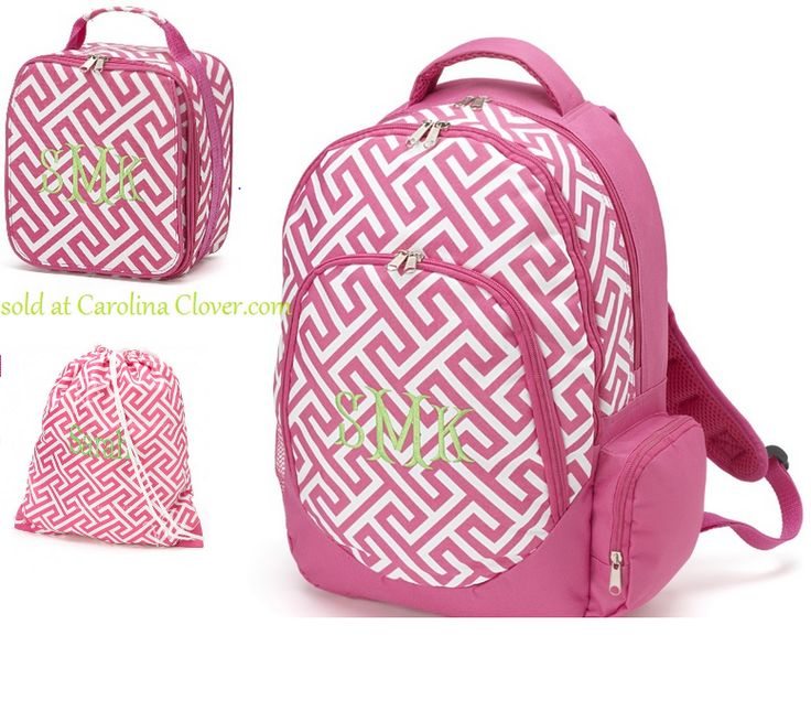 Blue Floral Monogrammed Backpack With Optional Lunch Tote Set