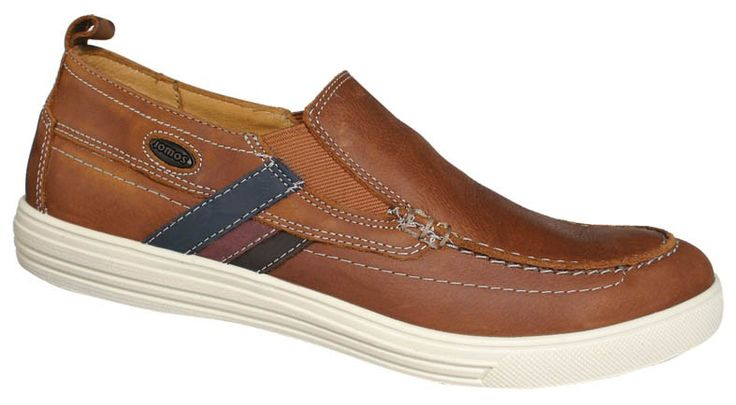 Men slipper shoes in tan color. Leather moccasins with contoured tread internally, elastic band for a comfortable fit and elastic outsole. Sporty looks and comfort in large sizes from Jomos. http://www.bigshoes.gr/mens-shoes/moccasins/314204-12-3074.html