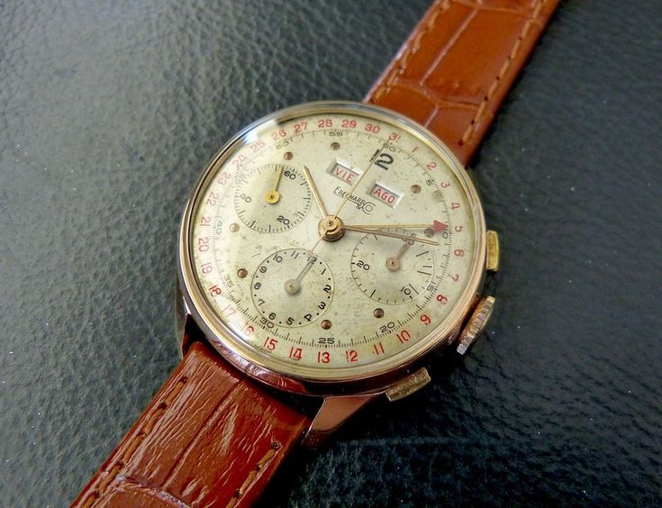Eberhard & Co. Solid rose gold chronograph Valjoux 72 C w. calendar complication | eBay
