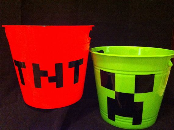 Minecraft TNT and creeper bucket / easter basket by CarterMasons, $9.00