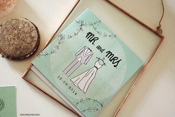 trouwkaart uitnodiging ontwerp mint coeurblonde #verhuiskaarten #geboortekaartjes #newborn #vormgeving #trouwkaarten #invitations #illustraties