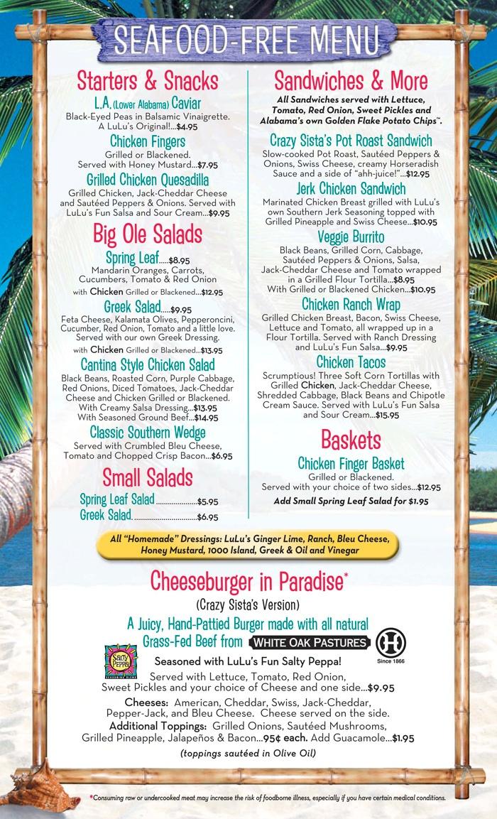 Seafood Free Menu Lulu S Gulf Shores Pot Roast Sandwiches Sweet Pickles Stuffed Peppers