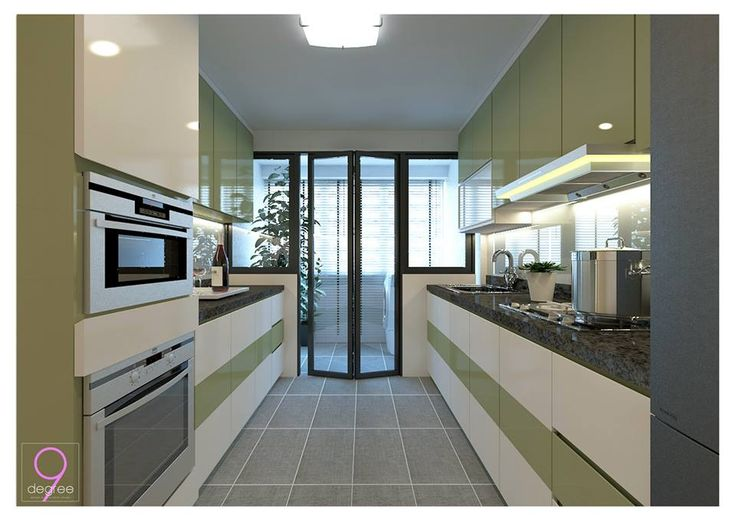 Love the green and white of this kitchen! :)
