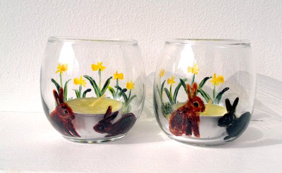 Pair of Rabbit and Daffodil Candle Tealight by AnimalGlassDesigns, £14.00