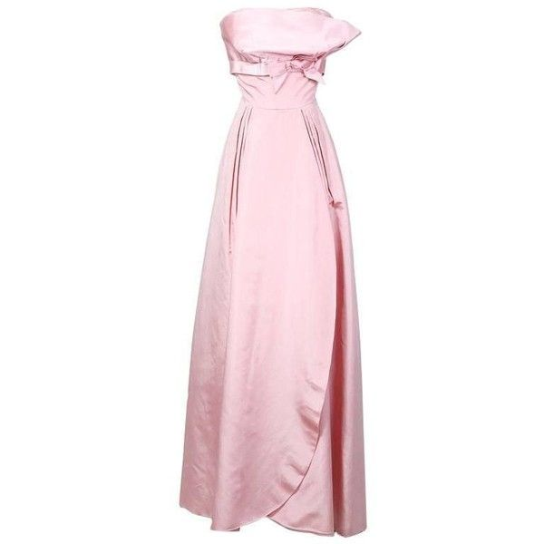 Preowned Philip Hulitar Satin Strapless Ball Gown With Bow Detail... ($2,800) ❤ liked on Polyvore featuring dresses, gowns, 1950s, beige, evening gowns, strapless dress, pink ball gown, pink evening dress, satin gown and pink dress