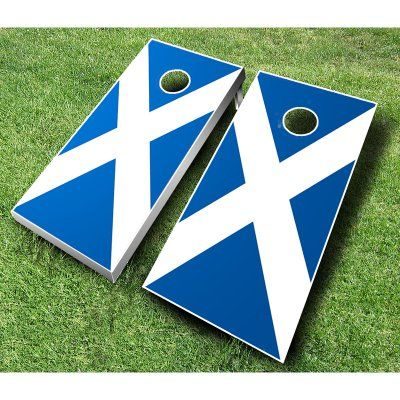 Scottish Flag Cornhole Set with Bags Royal Blue / Navy Blue Bags - SCOTTISH ROYAL/NAVY