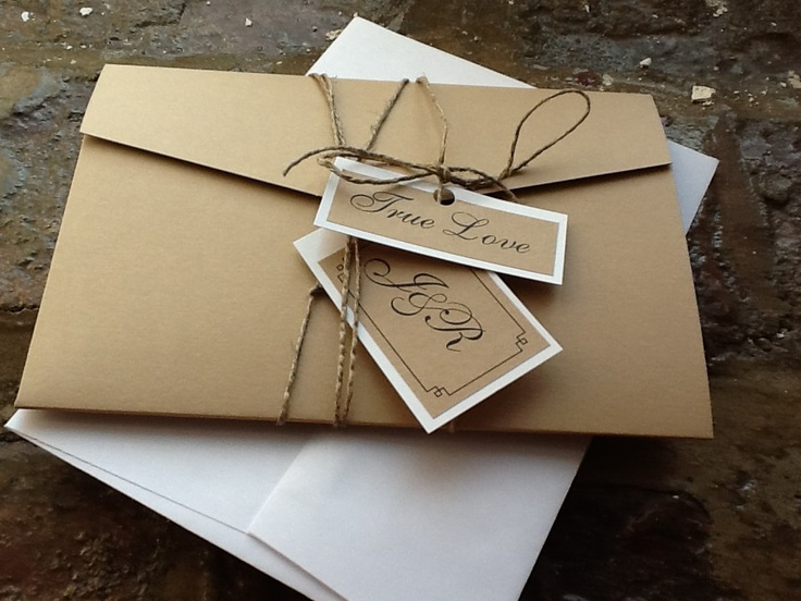 Pocketfold - Modern Wedding Invitations, rsvp card and twine & tages. $5.00, via Etsy.