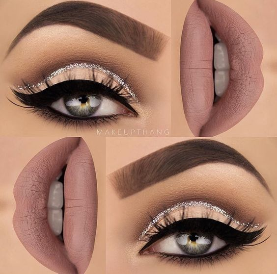 Make up thang   cashmere lime crime, glitter cut crease cat eye