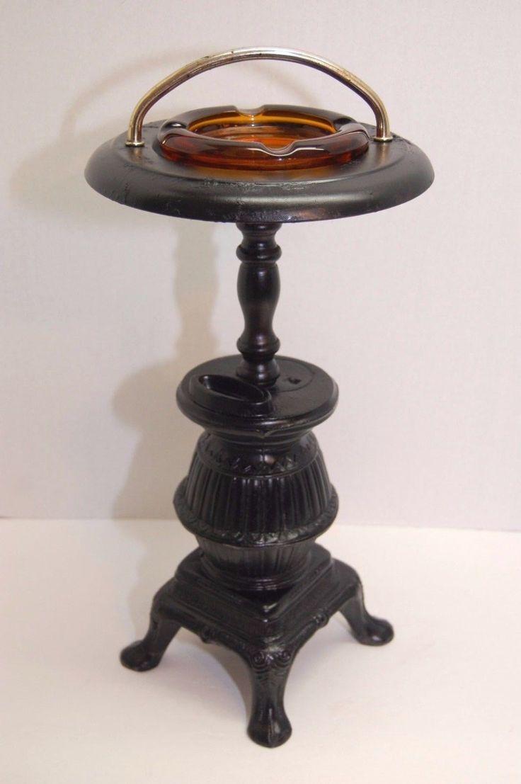 Vintage Cigar Ashtray Stand Pot Belly Stove Cast Aluminum