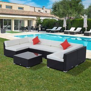 Rattan Furniture Set 7 PCS Sofa Garden Outdoor Patio PE Wicker Cushioned Lawn