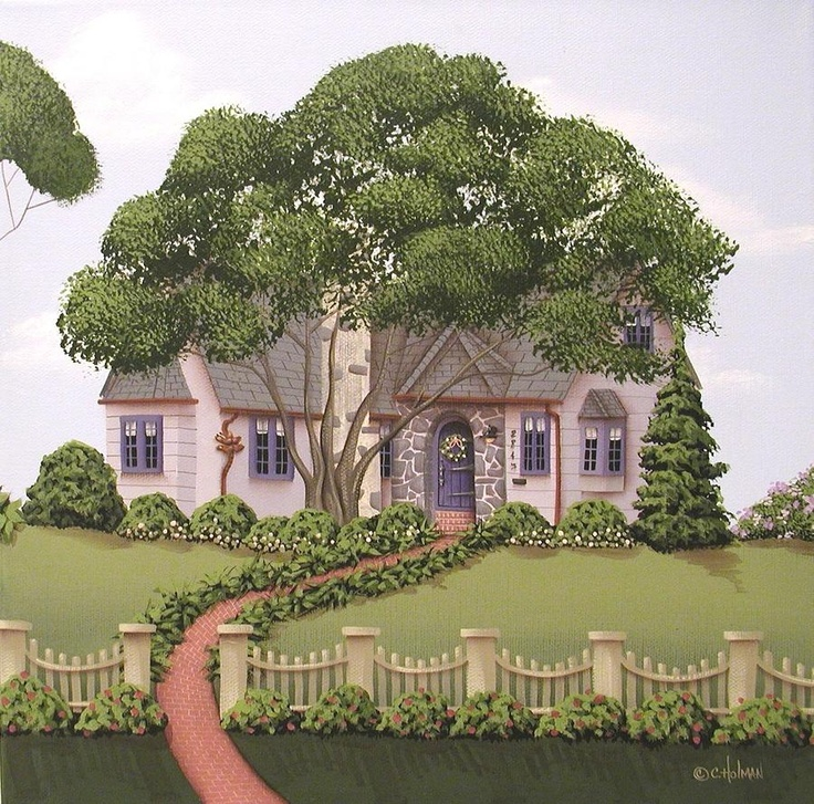 Dragonfly Cottage Painting by Catherine Holman