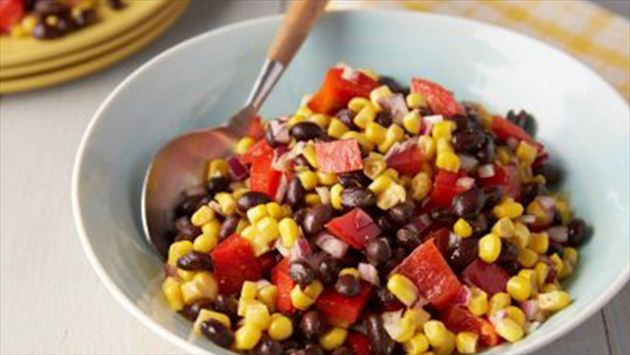 Black Bean and Corn Salad Recipe : will sub cherry halved tomatoes for red pepper, diced jalapeño for hot sauce and add cilantro