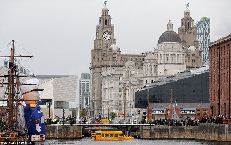 Impressive view: The duck tour took in the sights of Liverpool city centre