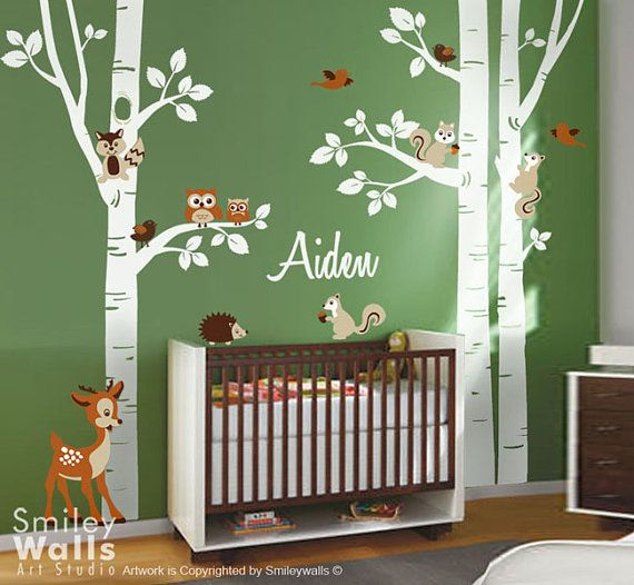Birch Trees Wall Decal Forest Trees Wall Decal Animals Owsl Squirrels Bambi Nursery Wall Decal Baby Room Art Decor