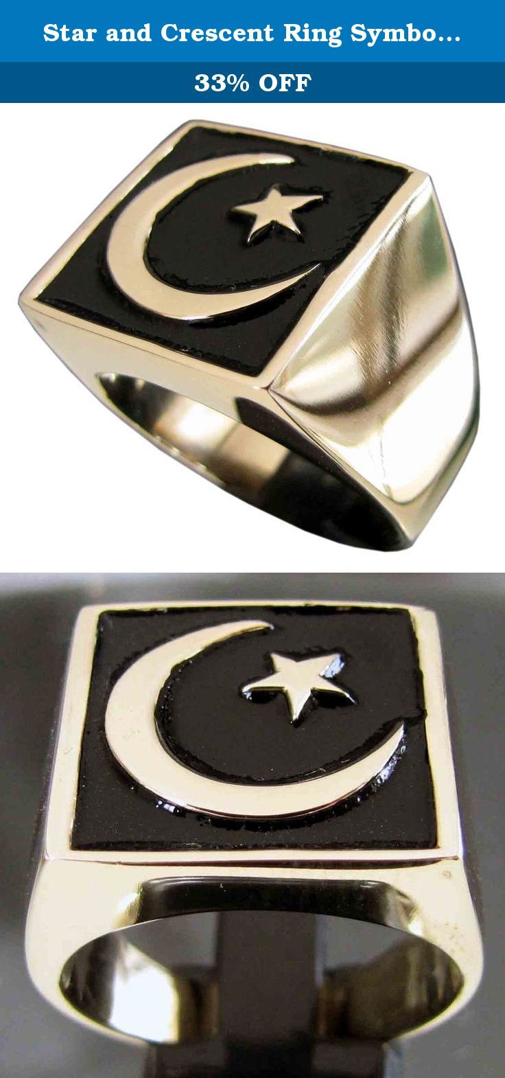 Star and Crescent Ring Symbol of Islam in Bronze with Black Enamel - size 4 to 16. A unique design, hand crafted and highly detailed. This ring is solid bronze but shines like gold. The Process First, the ring is carefully carved out of wax which is then used to form a plaster mold. Next, castings can be made with molten metal, ie. sterling silver and bronze. Then are the final stages of hand polishing and thorough quality checks. Sizing: Although it can sometimes be difficult to…