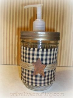 DIY Primitive Kitchen Crafts  Hm...with black and white polka dot fabric this would match my bathroom!