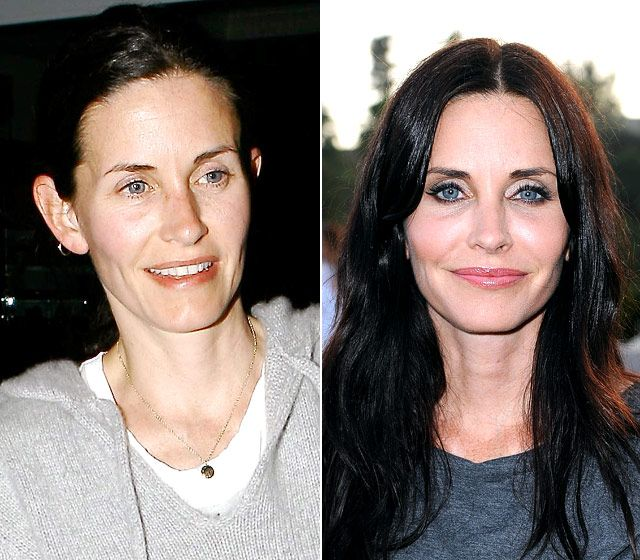 Courteney Cox  On left: leaving Nobu restaurant in L.A. on March 31, 2008  On right: attending an Art of Elysium dinner in L.A. on June 28, 2011