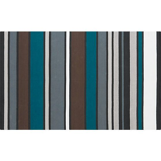 Wide Stripe Cotton Dhurrie Rug In Rugs | CB2